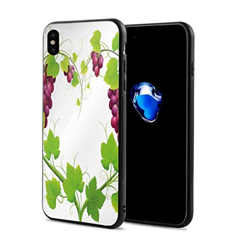 - Phone Case Cover for iPhone X XS,Heart Shaped Out of Grapevine Love Nature Themed Digital Art Botany Elements Print,Compatible with iPhone X/XS 5.8
