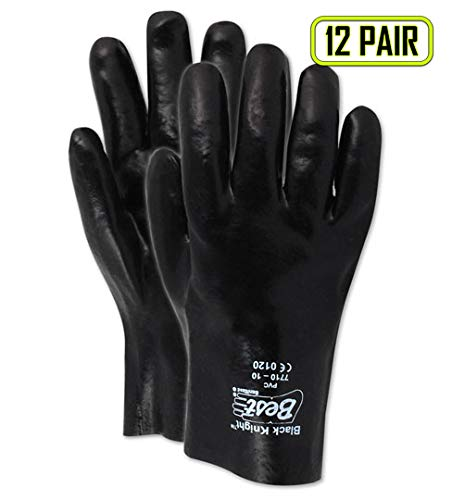 Showa Best 3680R SHOWA Best Glove Black Knight Black Vinyl Gloves, Large, Black , Large (Pack of 12) (Black Knight Best Gloves)