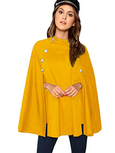 MAKEMECHIC Women's Double Button Cloak Sleeve Elegant Cape Mock Poncho Classy Coat Ginger XS ()