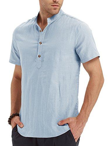 NITAGUT Men Henley Neck Short Sleeve Daily Look Linen Shirts (US S/Chest 34-37, 31 Short-Light Blue) - 46' Four Light