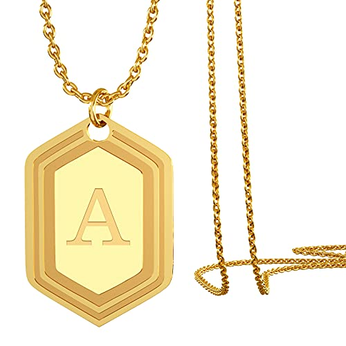 UHIBROSNecklaces for Women, 14K Gold Plated Hexagon Initial Necklaces, Dainty Personalized Alphabet Letter Choker with Adjustable Chain Pendant, Jewelry Gift for Women, Girls or Men-A