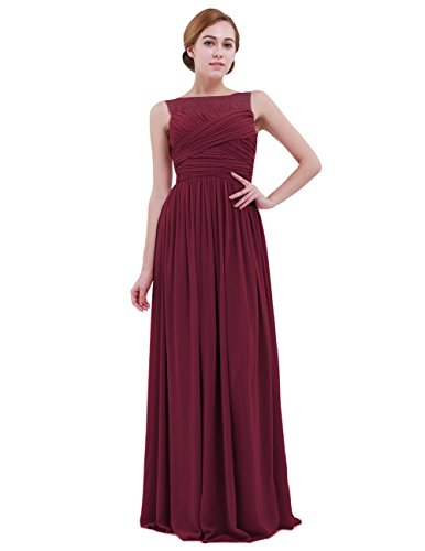 iEFiEL Women Lace Illusion Cross Pleats Bridesmaid Dress Long Evening Prom Gown Wine Red 14