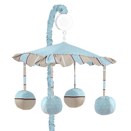 Sweet Jojo Designs Musical Baby Crib Mobile - Blue and Brown Modern Polka Dots by Sweet Jojo Designs