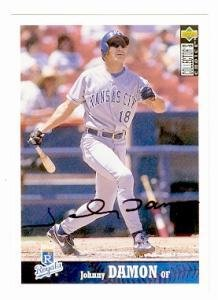 Johnny Damon Autographed Baseball (Johnny Damon autographed baseball card (Kansas City Royals) (67) 1997 Upper Deck #360 - Autographed Baseball Cards)