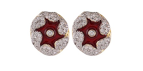 Terramart_ Earring Set_Fashion Jewellery for Women / Girls ( White, Maroon & Gold )