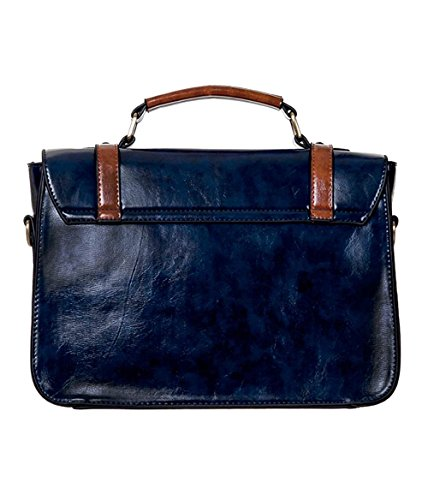 Apparel Banned Buckle Bag Satchel Vintage Shoulder Blue Leather Faux Bow Retro with Bapqwa7
