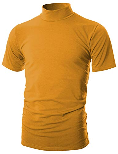 (OHOO Mens Slim Fit Soft Cotton Short Sleeve Pullover Lightweight Mockneck with Warm Inside/DCT101-MUSTARD-S)