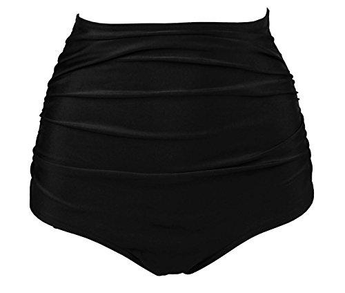 (COCOSHIP Solid Black Retro High Waisted Bikini Bottom Ruched Shirred Swim Brief Short Swimwear XXXL(FBA))