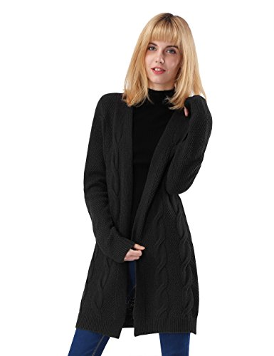 ninovino Women Sweater Coat - Twist Cable Knitted Long Sleeve Open Front Black-XL