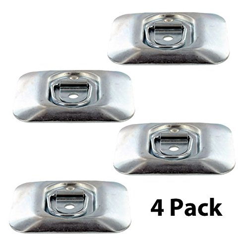 ((4 pack) Surface Mount Zinc Plated Rope Ring Tie Down)