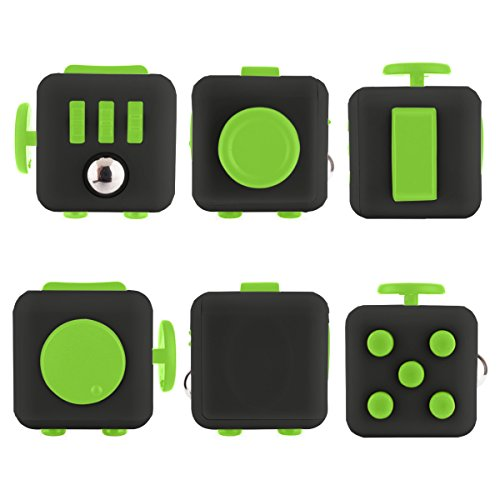 Fidget Cube Fidget Dice Toy - 13 different colors! - Relieves Stress & Anxiety, Helps to Focus - For Adults and Children - Extra Durable Silicon Non-Plastic Twiddle Cube by Ombrace (Black and Green) -