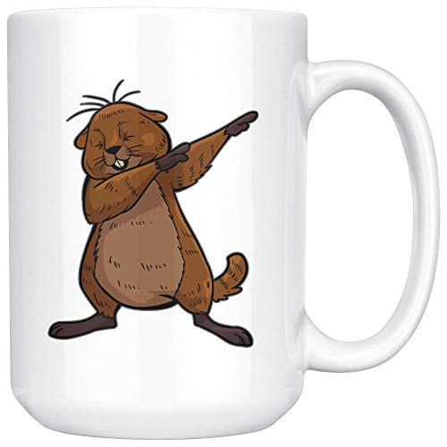 - Groundhog White Coffee Mug 15 oz, Dabbing Beaver Gifts for Zoologists Animal Lovers
