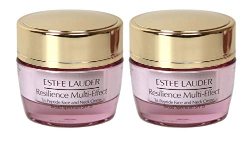 (Lot of 2 x Estee Lauder Resilience Multi-Effect Tri-Peptide Face and Neck Creme SPF 15, 0.5 oz / 15ml each, Travel Size Unboxed)