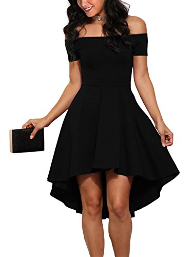 Sidefeel Women Off Shoulder Short Sleeve High Low Skater Dress Small Black by Sidefeel