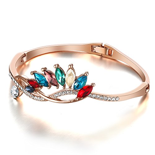 Cut Hinged Bangle Bracelet (Menton Ezil Colorful Queen 18K Rose Gold Plated Bangle Bracelet Round Cut Zircon Diamond Hinged Jewelry 7