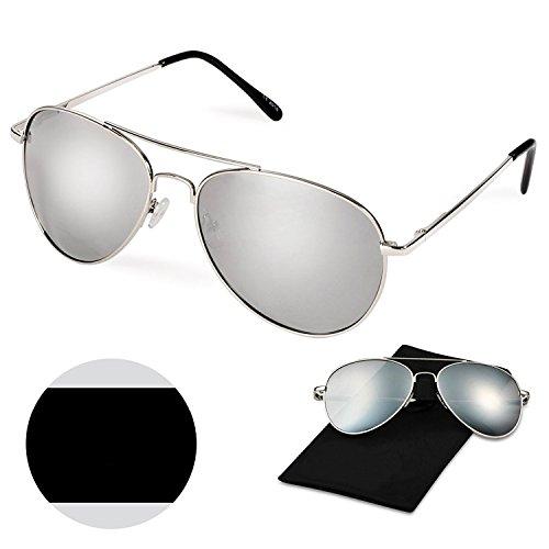 Classic Aviator Style Sunglasses, WITERY Premium Full Mirrored Aviator Metal Frame Polarized Sunglasses Flat Matte Reflective Lens UV400 Protection - Non Pc Halloween Costumes 2016