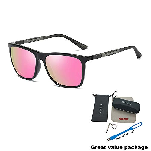 ZTMXEK Unisex Polarized Aluminum Sunglasses Vintage UV Protection Sunglasses for Driving Outdoor Sports (Black frame pink lens)