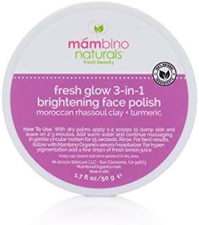 Mambino Organics Fresh Glow 3-In-1 Brightening Face Polish, Rhassoul Clay + Turmeric, 1.7 Ounces