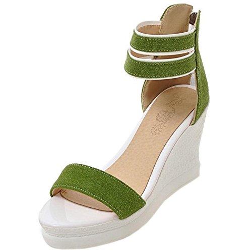 RAZAMAZA Mujer Moda Comodo Dulce Tacon de Cuna Peep Toe Sandalias con Cremallera Verde