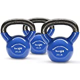 Yes4All Combo Vinyl Coated Kettlebell Weight Sets – Great for Full Body Workout and Strength Training – Vinyl Kettlebells 15 20 25 lbs