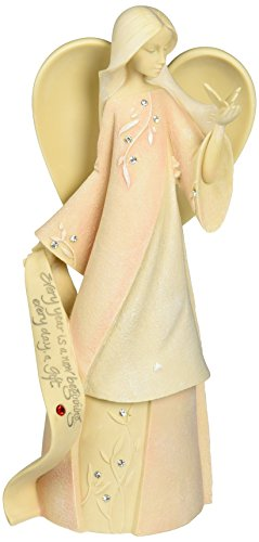Foundations July Monthly Angel Stone Resin Figurine, 7.5