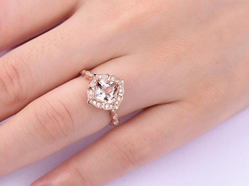 (Cushion Morganite Engagement Cathedral Ring Diamond Wedding 18K Rose Gold 7mm Floral Halo)