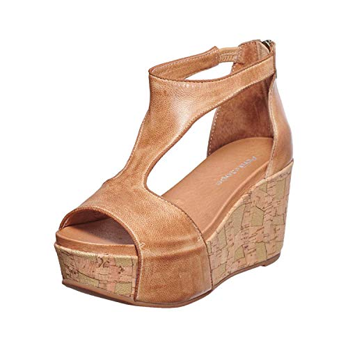 Antelope Women's 829 Taupe Leather Hi T-Strap Wedge Sandals 37