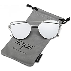 SojoS Cat Eye Mirrored Flat Lenses Street Fashion Metal Frame Women Sunglasses SJ1001 With Silver Frame/Silver Mirrored Lens