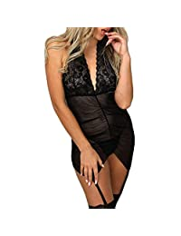 Women's Exotic Lingerie Sets Halter Backless Lace Babydoll Dress Lingerie with Thong Nightgown Sleepwear