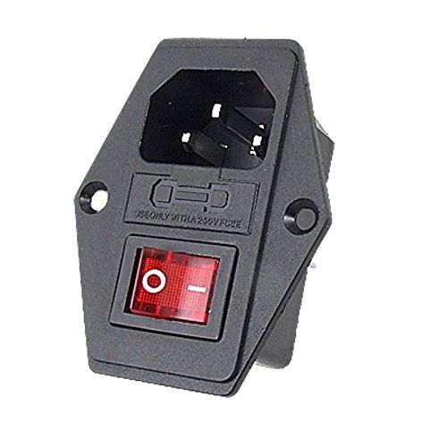 URBEST Inlet Module Plug 5A Fuse Switch Male Power Socket 10A 250V 3 Pin IEC320 C14