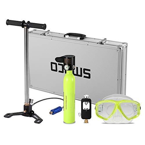 (Lixada Diving Oxygen Tank,0.5L Portable Diving Oxygen Bottle Diving Oxygen Cylinder Set with Scuba Respirator Refill Adapter High Pressure Air Pump Diving Mask Alloy Case )