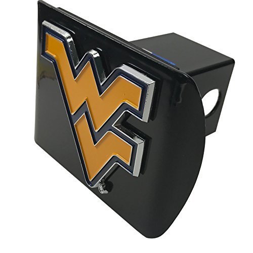 - West Virginia University METAL Old Gold and Blue emblem on black METAL Hitch Cover