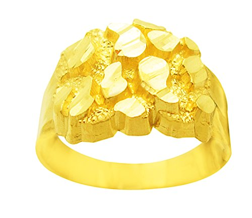 AMZ Jewelry Men's 10K Yellow Gold Nugget Ring Hip Hop Ring 4.1 g (Yellow Gold Ring Nugget)