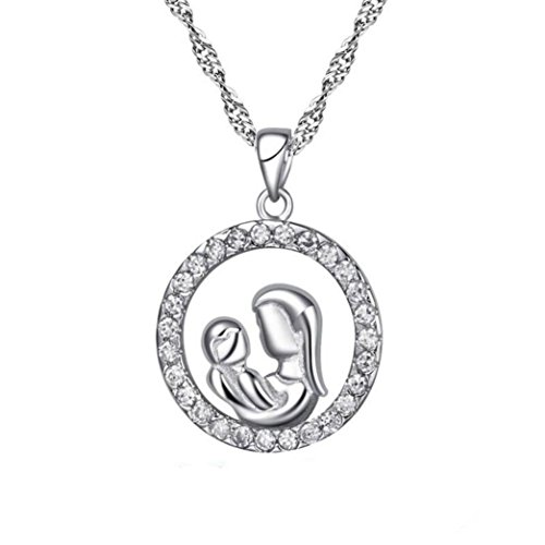IEason Mother's Day New Gifts Silver Mosaic Zircon Necklace Jewelry (Silver) ()