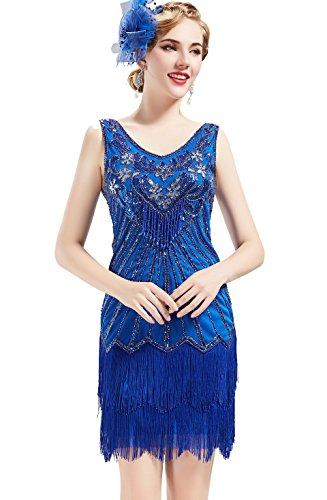 BABEYOND Women's Flapper Dresses 1920s V Neck Beaded