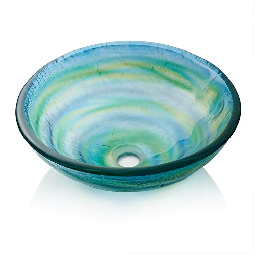 - Miligore Modern Glass Vessel Sink - Above Counter Bathroom Vanity Basin Bowl - Round Blue & Green