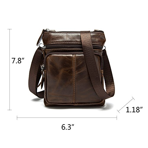 Crossbody Carrying Notag Messenger 2 With Coffee Genuine Bag Vintage Adjustable Strap Casual Purse Bag Shoulder Men's Leather Ways Handbag qtx7rwR4nt