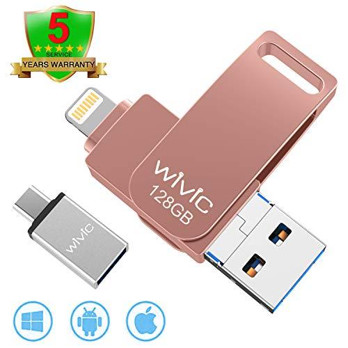 USB Flash Drive Photo Stick for iPhone Flash Drive for iPhone PhotoStick Mobile for iPhone iOS Flash Drive Android Drive Backup OTG Smart Phone Memory Stick Storage iPAD USB 3.0 WIVIC 128GB Pink
