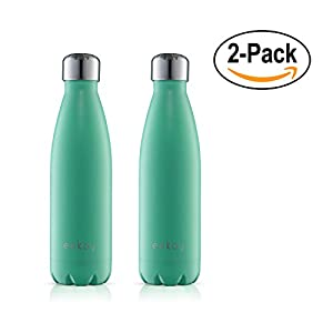 Eekay Wares 2 Pack PREMIUM QUALITY Stainless Steel Vacuum Insulated 25 oz Water Bottle, BPA Free, Leak Proof, Sweat Free, Keeps your drink Hot & Cold for hours , (Green) Great For Coffee and Tea