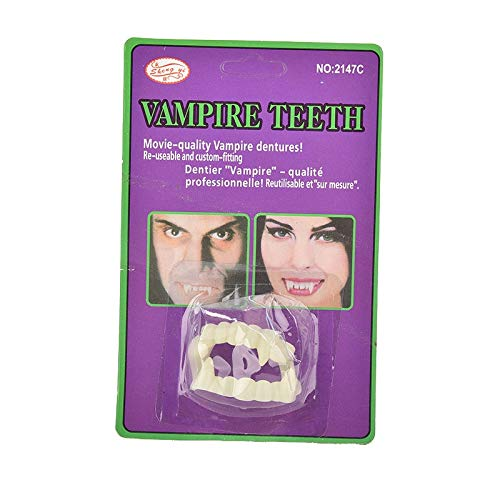 (Photobooth Props - Luminous Vampire Fake Teeth In The Dark Prop Masquerade Cosplay Makeup - Eyelash Full Cosmetic Spider Curler Teeth With Cosplay Face Glue Halloween Fake Denture)
