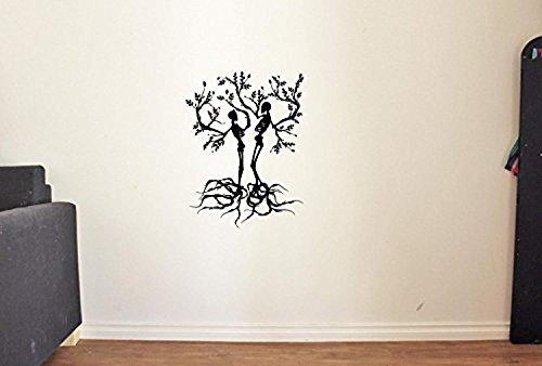 Skeletons in Tree Halloween Vinyl Wall Decals Bones Death Vinyl Stickers Decor Murals KM4416 ()
