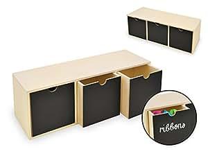 MC Wood 3 Drawer Office Supply Desk Organizer with Chalkboard, 8 3/4 Inch