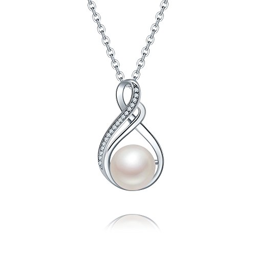 """Dancing Ferly"" 925 Sterling Silver Pendant Nacklace 18"" with AAA Zirconia 10mm Freshwater Pearl"