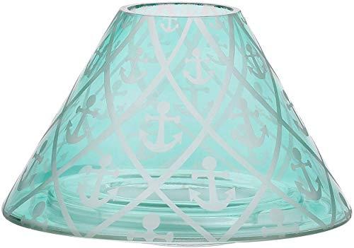 Pavilion - Aqua Anchor Patterned Beach House Large Crackled Glass Jar Candle Shade