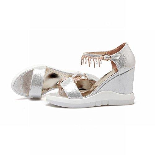 Mee Shoes Damen modern reizvoll populär open toe Schnalle Knöchelriemchen mit Metall-Dekoration Keilabsatz ankle strap Plateau Sandalen Silber