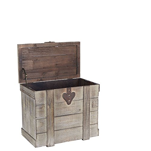 Household Essentials White Washed Rustic Decorative Wooden Trunk, Small