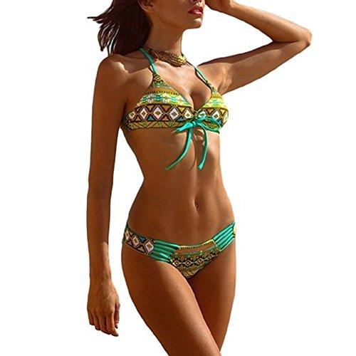 [BABUBALA Distinctive Donne Sexy Vintage Floreale Stampa Halterneck Brasiliano Costumi Da Bagno Bikini Beachwear green BLarge] (Brasiliano Costume)
