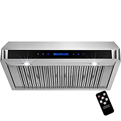 "Perfetto Kitchen and Bath 36"" Under Cabinet Stainless Steel Made LED Display Touch Control Kitchen Vent Range Hood Cooking Fan Remote"