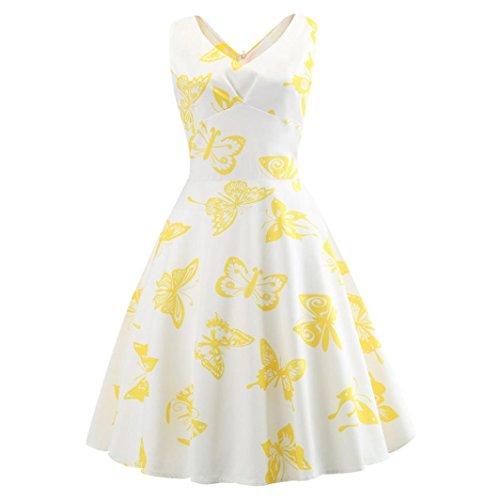 S de Femmes Fte Col Retro Mode V Dress oire lgant Impression Prom balan Toamen manches Jaune Blanc grande Swing Robe Sans robe vdq4xHw4g