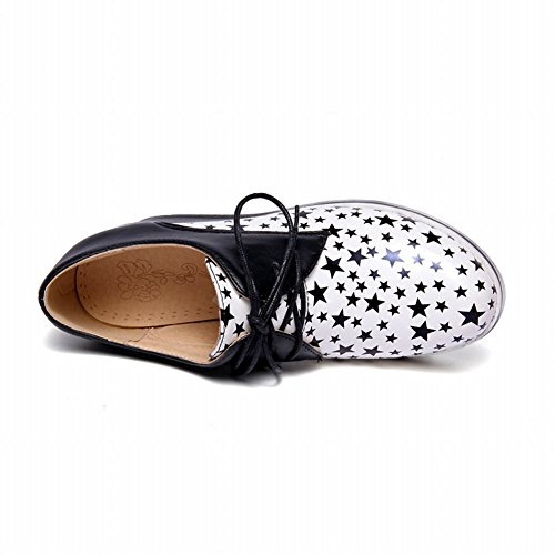 Fashion Colors Oxfords Assorted Womens Lace Print White Carolbar Up Shaped Shoes Wedges Star RTIXqv4wx
